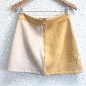 Zara Yellow & Beige Zip-Up Mini Skirt Size Medium